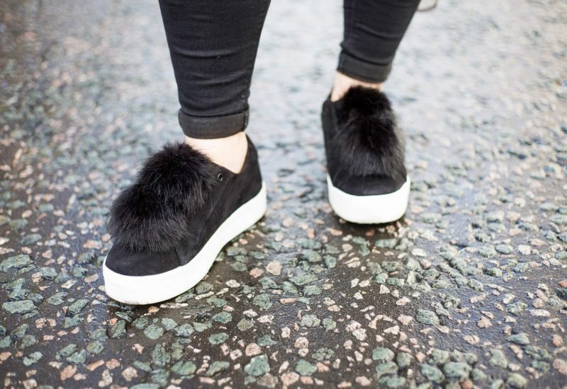 Leya pompom-embellished suede slip-on sneakers