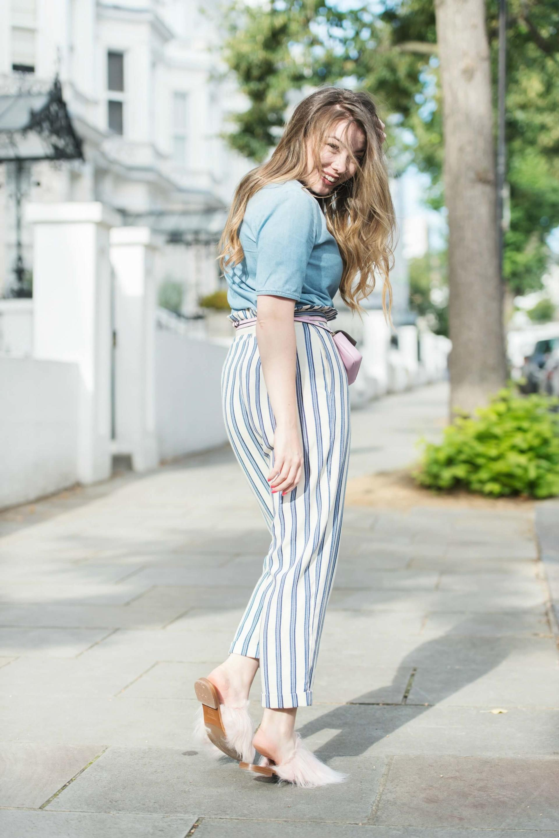 Topshop Stripe Ruffle Peg Trousers