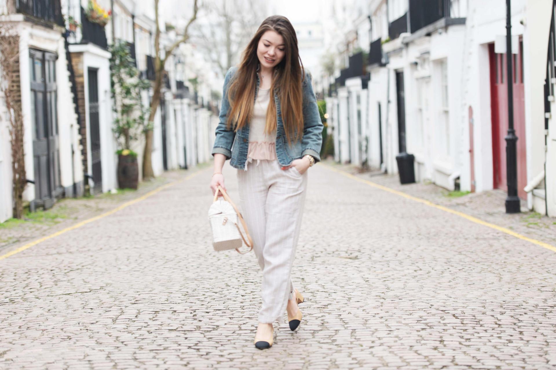 Mango Bow linen trousers