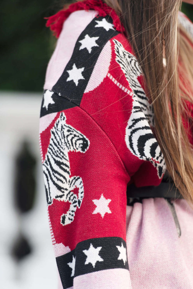 Hayley Menzies SHORT CAROUSEL CARDIGAN PINK/RED
